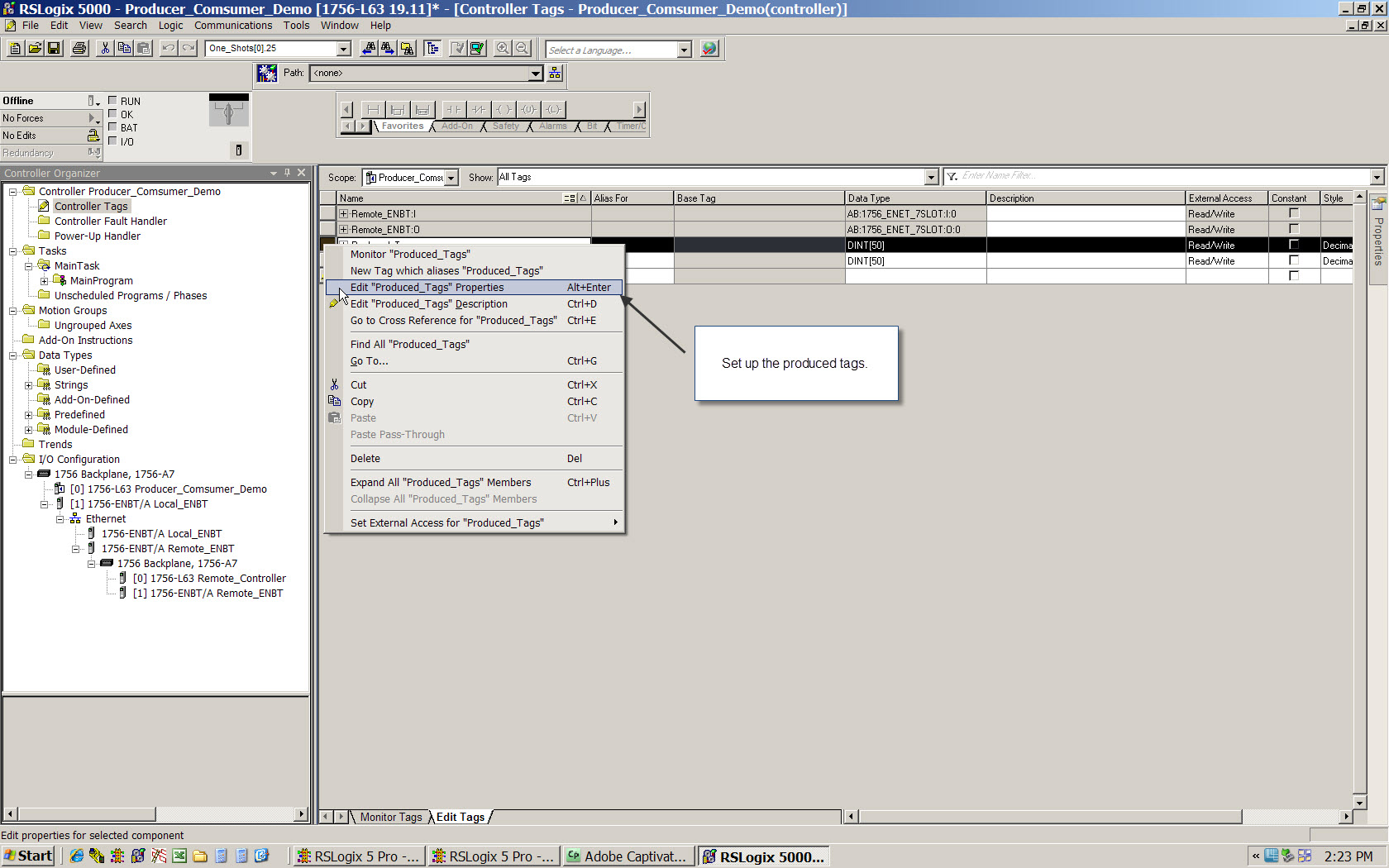 Data exchange between 2 Controllogix using produced and